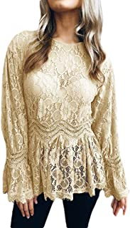 Mogogo Womens Vogue Sexy Lacework See-Through Hollow Out Tunic Blouse