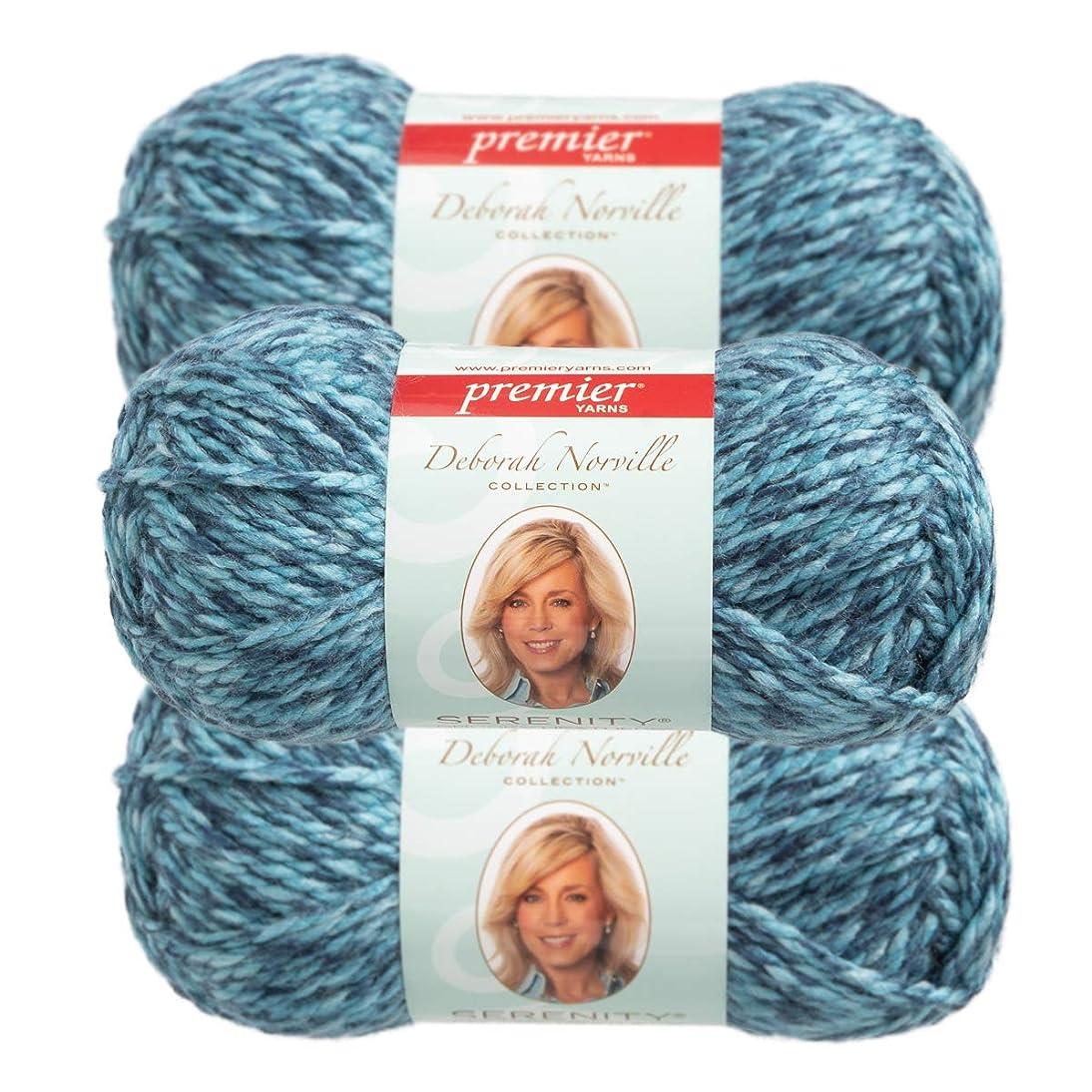 Premier Yarns (3 Pack Deborah Norville Serenity 100% Acrylic Soft Sky Heather Dark Blue Light Blue Yarn for Knitting Crocheting Chunky #5