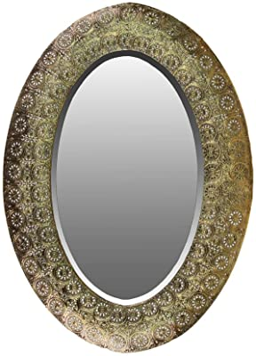 Urban Trends Elliptical Wall Mirror Pierced Metal Design, Gold