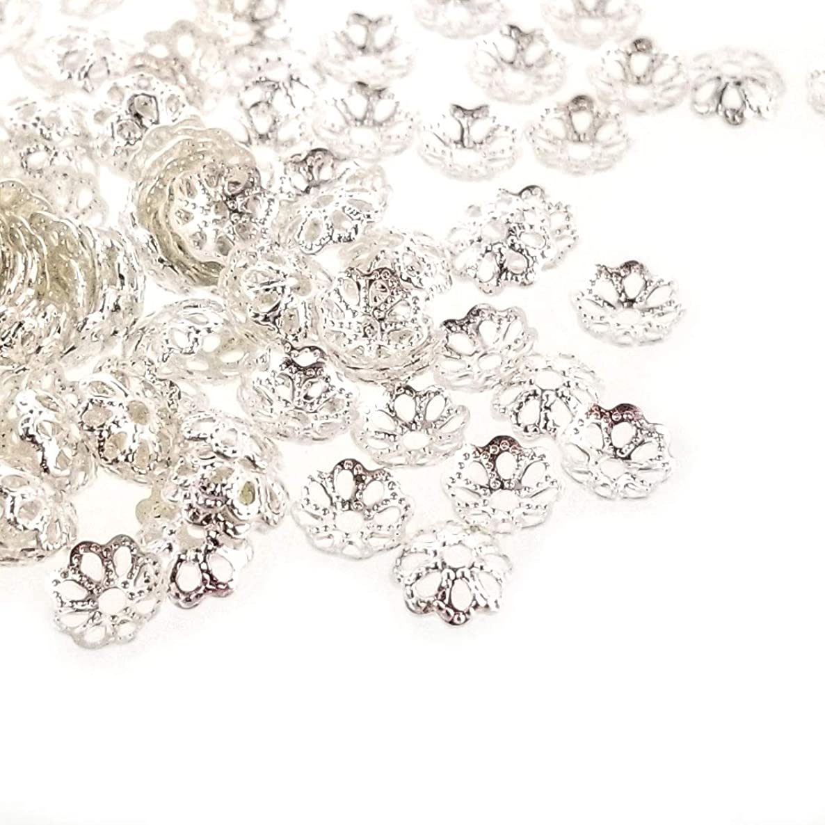 Silver Plated Brass Small Filigree Flower Bead Caps Spacers for Jewelry Making (6mm)