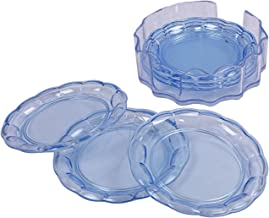 Kuber Industries 6 Pieces Tea Coaster with Stand (Blue)