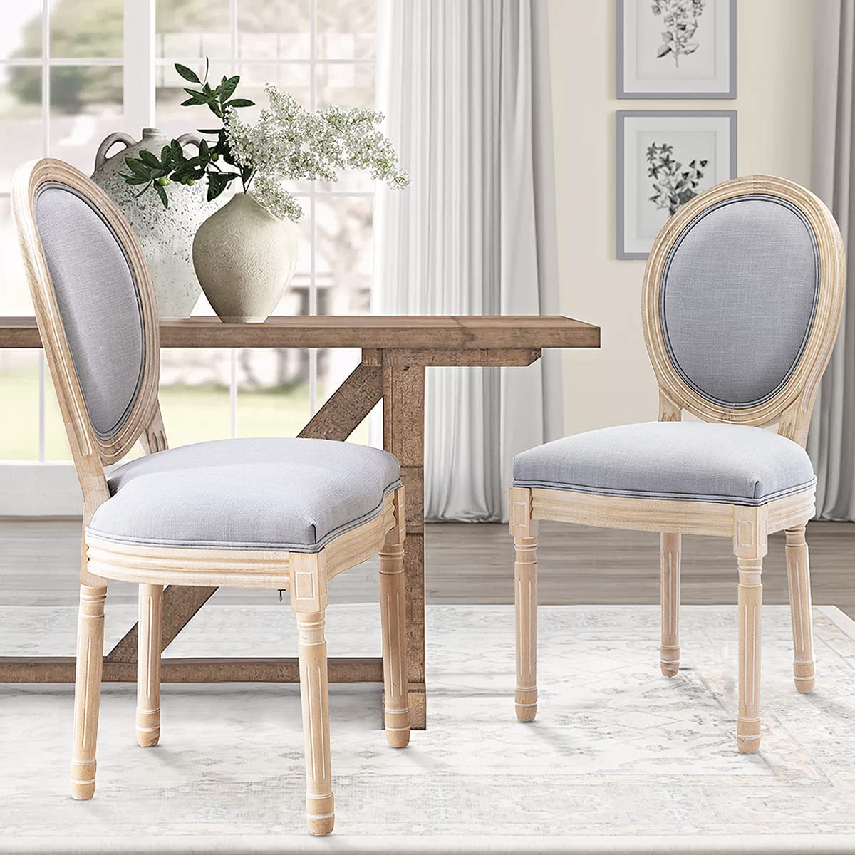 Recaceik Farmhouse Dining Chairs Limited time trial price 2 trust PCs Bedroom Side French Chai