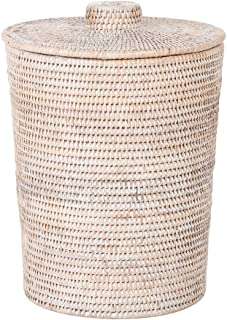 Kouboo La Jolla Rattan Round Plastic Insert & Lid, Large, White-Wash for Bedroom, Living Room and Bathroom Basket for Dry or Organic Waste
