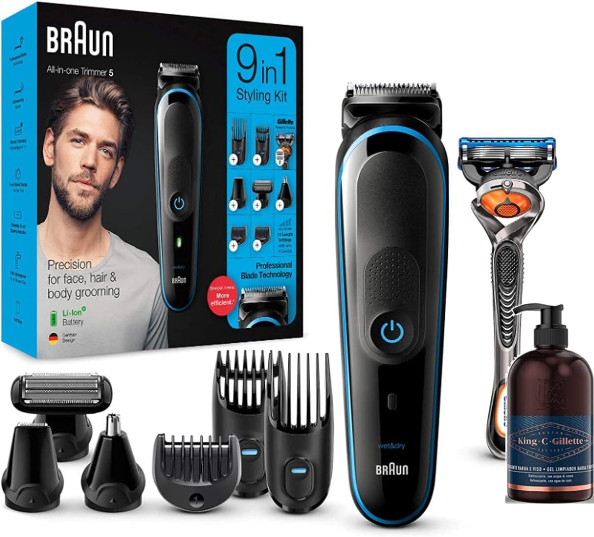 Braun MGK5280 9 en 1 - Máquina cortar pelo recortadora de barba, set de depilación corporal y cortapelos para hombre