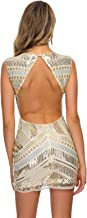 VVMCURVE Women's Sparkling Sequin Evening Sexy V Neck Nightclub Bodycon Backless Mini Party Dress