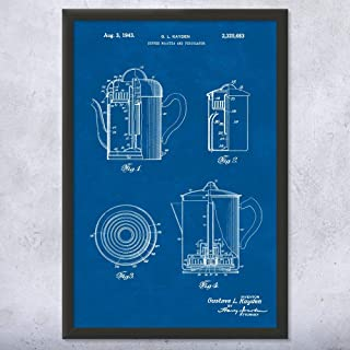 Framed Coffee Roaster & Percolator Print, Barista Gifts, Coffee Shop, Cafe Owner, Espresso Lover, Kitchen Art Blueprint (8