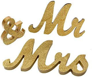 Marsheepy Mr and Mrs Signs Wedding Sweetheart Table Decorations, Wooden Freestanding Letters Wedding Shower Gift (Gold)