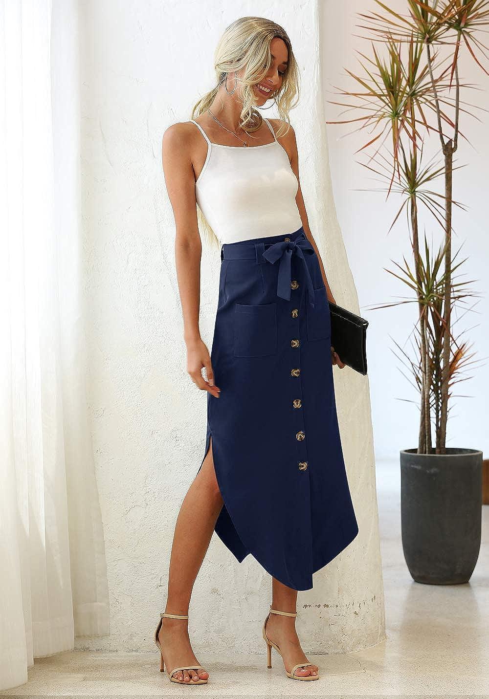 WAYMODE Women's Button Front Casual High Waist Belted Pockets Split Long Skirt