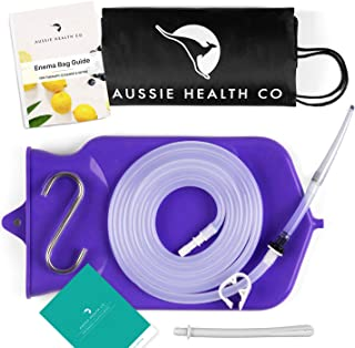 Aussie Health Co Non-Toxic Silicone Enema Bag Kit. 2 Quart. BPA & Phthalates Free. for at Home Water & Coffee Colon Cleansing. Purple Color. Includes Instruction Booklet.