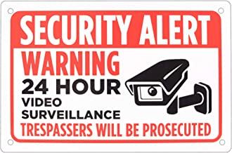 "Security Alert Sign – 18"" x 12"" Aluminum Warning Sign – Security Video for Parking Lots, Prive Driveways, Businesses by Bolthead Industrial"