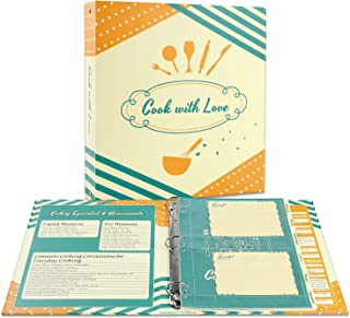 "Soligt Full Page Recipe Binder Organizer Kit with 60 4""x6"" Recipe Cards, 30 Page Protectors, 12 Tabbed Dividers and 24 Lab..."