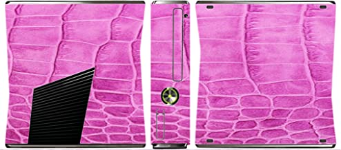 Pink Crocodile Leather Print Pattern Background Vinyl Decal Sticker Skin by Moonlight4225 for Xbox 360 Slim (2010)