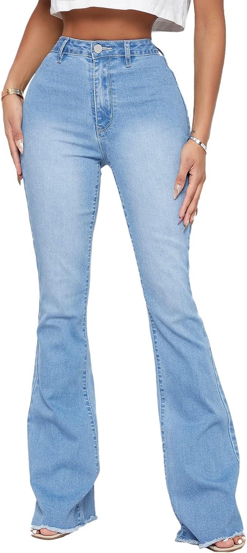 SweatyRocks Women's Raw Hem Jeans High order Pant Rise Leg quality assurance Denim Flare