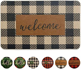 "Carvapet Buffalo Plaid Rug Outdoor Indoor Entry Way Front Door Mat 18"" x 30"" with Non Slip Rubber Backing, Black&White Welcome"