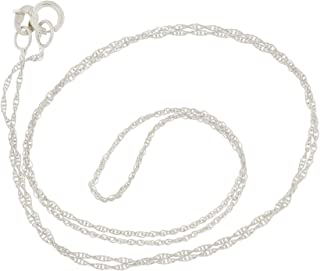 10k Yellow, White or Rose Gold 0.90 Millimeters Delicate Rope Chain Necklace