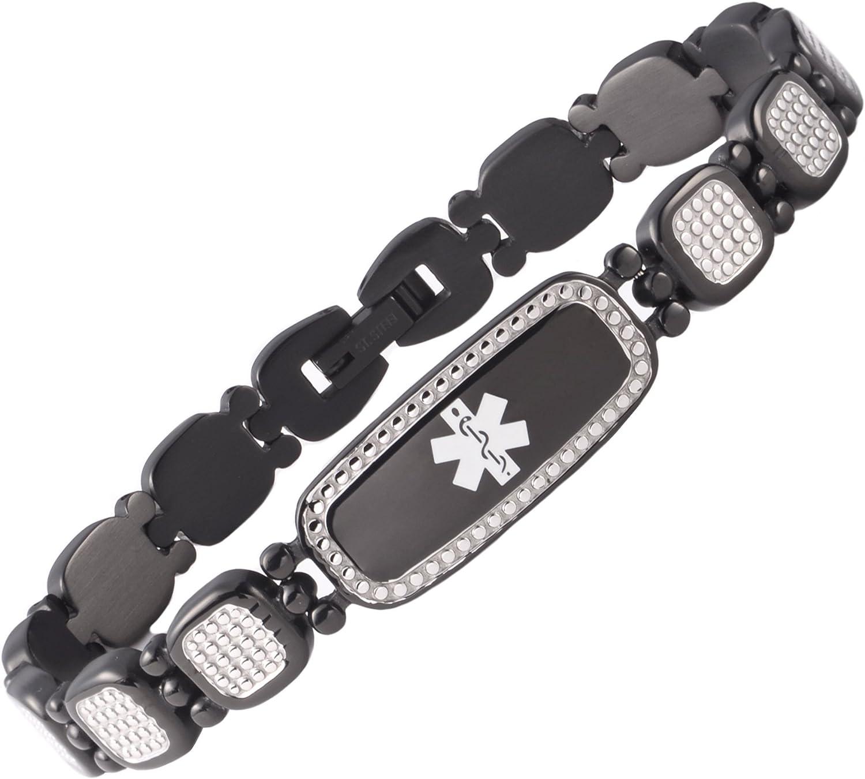 Tarring Shiny Star Identification Bracelets for Women Medical Alert Bracelet with Free Engraving