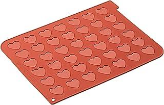 silikomart 23.043.00.0065 Tapis en Silicone pour Réaliser 42 Macarons en Forme Cœur, Rouge Brique, 30x40 cm