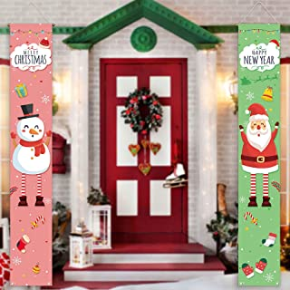 Allenjoy Merry Christmas Theme Door Banner for Newborn Kids Happy New Year Eve Party Decors Snowman Santa Claus Hanging Wa...
