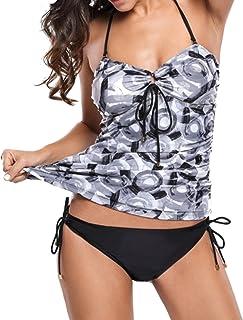 Tankini Damas Bikini Bandeau Portador del Traje de baño Traje de baño Uni tapizado de Dos Piezas de Deslizamiento Top