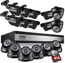 ZOSI 16CH 1080P Surveillance DVR with 16pcs Security Cameras & 4TB Hard Drive CCTV System Support Phone Remote Motion Detection 24/7 Recording