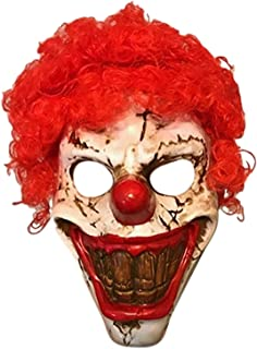 Plastic Creepy Big Teeth Clown Mask with Red Hair Adult Size