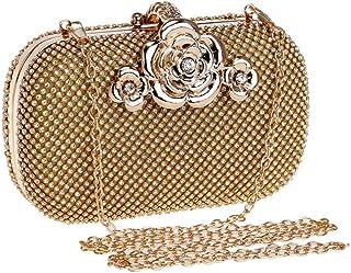 Songlin@yuan Women's Crystal Rhinestone Inlay Party Clutch Solid Color Flower Handbag Wallet Mini Shoulder Messenger Bag Evening Pack Size: 16 * 5 * 9.5cm (Color : Gold)