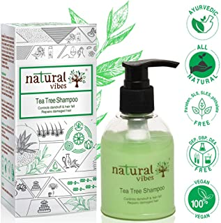Natural Vibes Ayurvedic Tea Tree Shampoo, 150ml, Hair fall & Dandruff Control (No Parabens, Sulphate, SLS, SLES, Silicon)