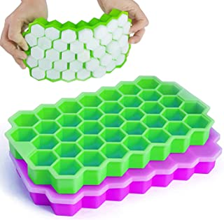 Ice Cube Trays, iReaydo 2 Pack Honeycomb Shaped Flexible Ice Trays with Covers, BPA Free Silicone Ice Trays Molds with Rem...