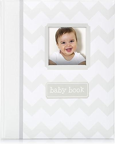 Little Pear Chevron Baby Book, Baby Keepsake, Baby Memory Book, Baby Girl or Baby Boy Photo Album Gender-Neutral, Gray