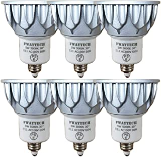 FWAYTECH LED電球 e11 昼白色 消費電力5W 調光器対応 高演色性Ra82 ダイクロ型40W~50W相当 中角30度 ダクトレールLEDスポットライト 密閉器具対応 (5000K昼白色相当, E11口金 調光 (本体銀) 6個)