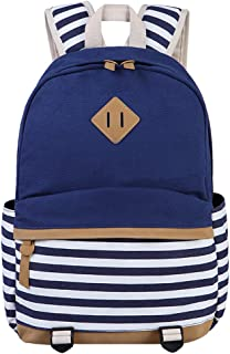 BLUBOON Canvas Students Backpack Casual School Bookbag for Teens Girls (Blue)