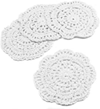 kilofly Small Crochet Cotton Lace Coasters Doilies Pack Set, 4pc, White, Round, 4 inch