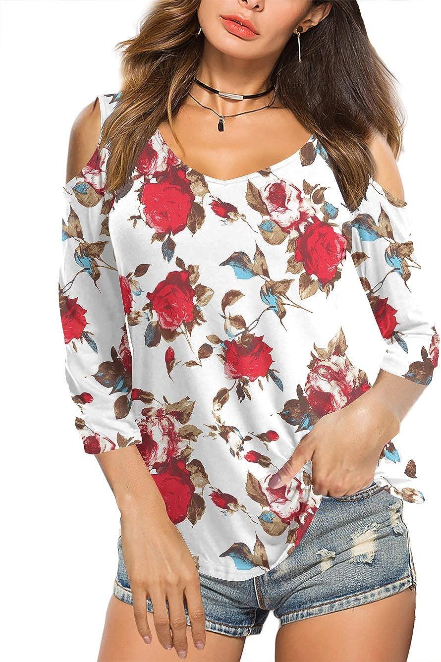 Amoretu Summer Blouse Short Sleeves Tunic Cold Shoulder Tops Shirts for Women