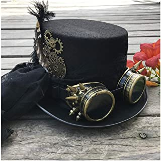 SHENTIANWEI 2019 Fashion Women Handmade Steampunk Top Hat with Gear Glasses and Lace Stage Magic Hat Party Hat Size 57CM