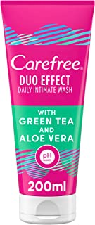CAREFREE Daily Intimate Wash, women hygiene, care Duo Effect with Green Tea and Aloe Vera, 200 ml