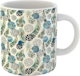 Coffee Tea Mug Gift 11 Ounces Funny Ceramic Abstract Watercolor Tribal Feathers and Geometric Circles Round Shapes Marbling Gifts For Family Friends Coworkers Boss Mug