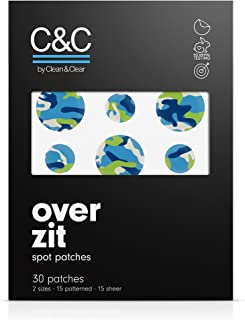 C&C by Clean & Clear Over Zit Spot Patches, With Hydrocolloid, Absorbs Fluid, Pimple Patch for Acne Prone Skin, Not Tested on Animals, 30-ct