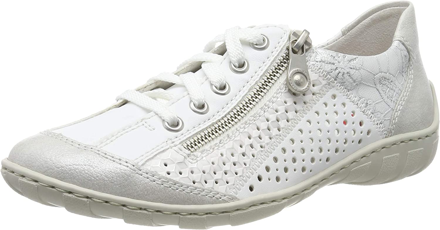 Rieker Women Lace-Up shoes White, (White-Silver Weiss w) M37G6-80