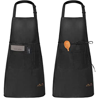 Viedouce Womens Mens Aprons with Pockets Durable Restaurant Aprons for Chefs Pocket Apron 2 Pack, Black