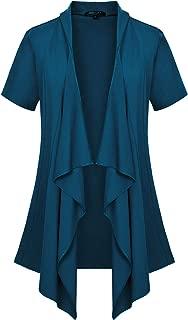 Urban CoCo Women's Short Sleeve Open Front Drape Loose Cardigan