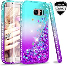 Galaxy S7 Edge Case (Not Fit S7) with 3D Pet Screen Protector [2 Pack] for Girls Women, LeYi Glitter Bling Shiny Diamond Liquid Clear TPU Protective Phone Case for Samsung Galaxy S7 Edge Teal/Purple