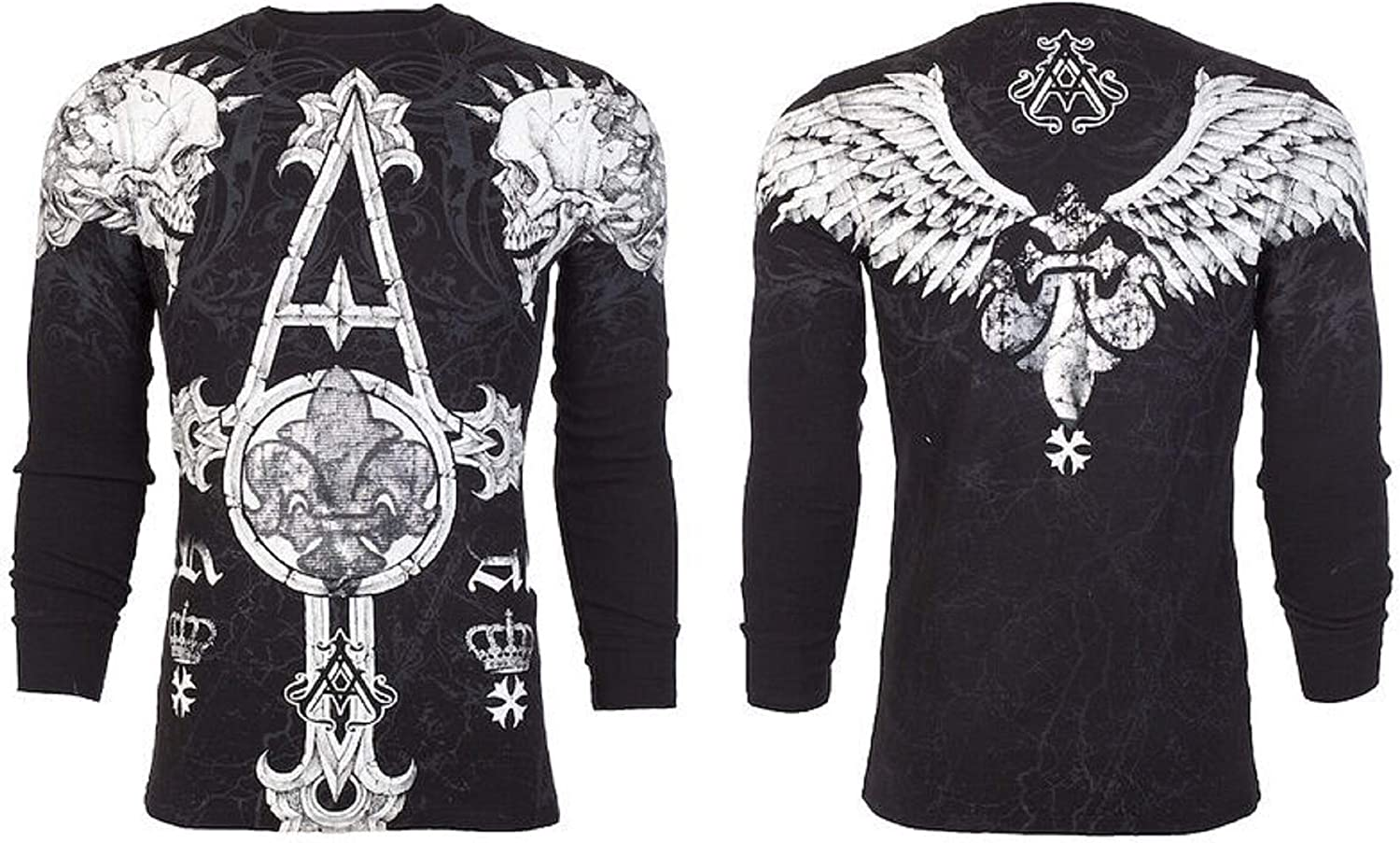 Affliction Archaic Mens Long Sleeve Thermal Shirt Tall Tale Skulls