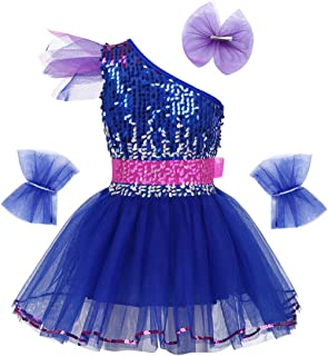 JEATHA Kids Girls Shiny Sequins One Shoulder Ballet Modern Dance Jazz Dress Tulle Belt with Hairclip Wristband Set