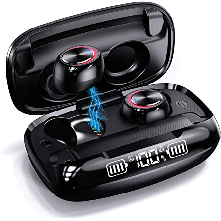 Wireless Earbuds GUSGU Bluetooth 5.0 True Wireless Earphones,IPX7 Waterproof HiFi Stereo Sound CVC8.0 Tech In Ear Headphones with Mic,One-Step Pairing,up to 90H Playtime with Wireless Charging Case