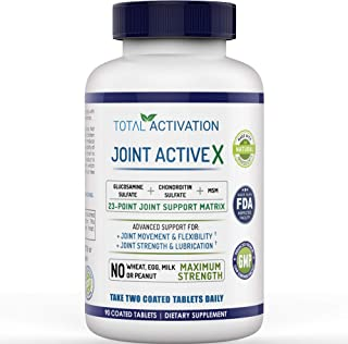Extra Strength Joint ActiveX Formula, Supplement for Joint Health, Support, Discomfort, MSM, Glucosamine 1000mg, Chondroitin Sulfate 100mg, Vitamin C, Collagen Building & Hair Support, 90 Tablets