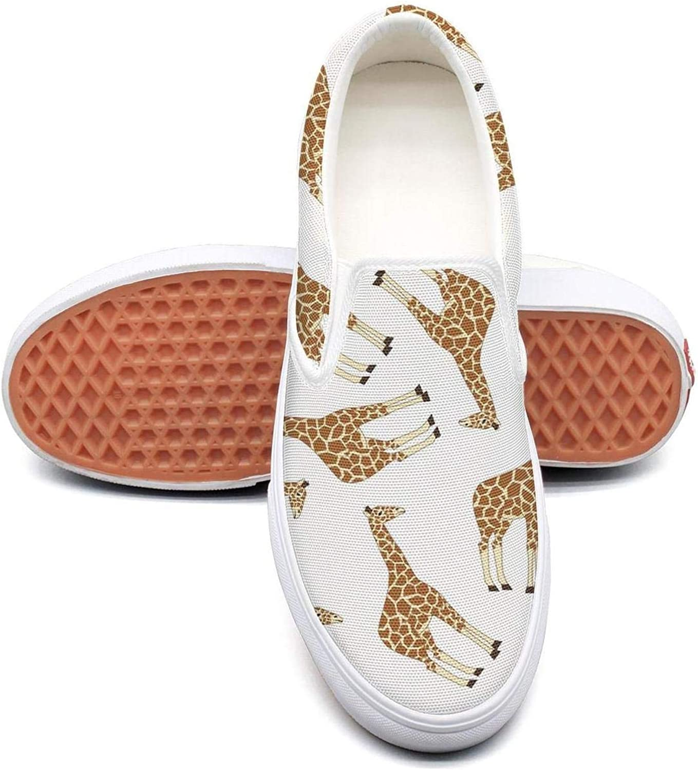 Refyds-es Cool Giraffe Animal Womens Fashion Slip on Low Top Lightweight Canvas Volleyball Sneakers