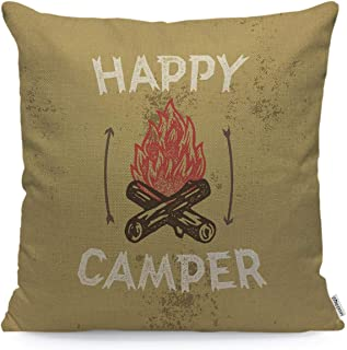 WONDERTIFY Throw Pillow Case Cover Happy Camper Campfire Woodcut Badge Lettering Apparel Print - Soft Linen Pillow Case for Decorative Bedroom/Livingroom/Sofa/Farm House - Cushion Covers 18x18 Inch