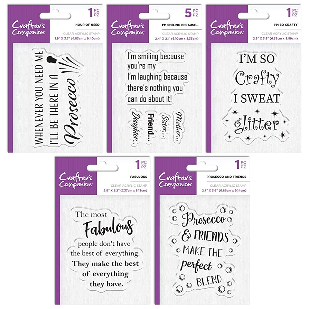 Crafter's Companion Quirky Acrylic Stamp Bundle One, Various