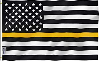 ANLEY Fly Breeze 3x5 Foot Thin Gold Line USA Polyester Flag - Vivid Color and Fade Proof - American Honoring 911 Operator...