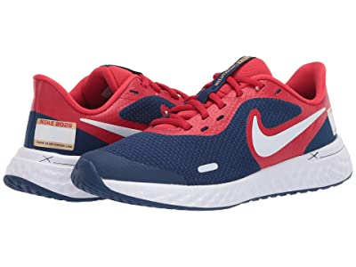 Nike Kids Revolution 5 (Big Kid) (White/Multicolor/University Red) Kids Shoes